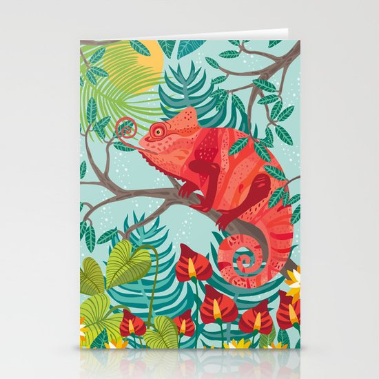 The Red Chameleon  Stationery Card