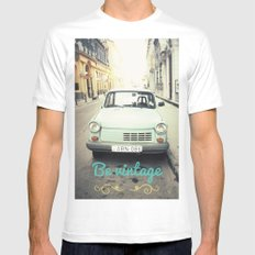 Be Vintage! SMALL Mens Fitted Tee White