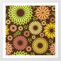Folk flowers and leaves in brown Art Print