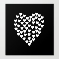 Hearts On Heart White On… Canvas Print