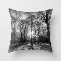 The Monochrome Sun Ray Forest Throw Pillow