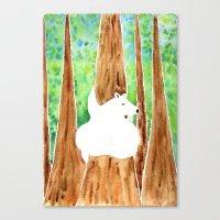 Polar Bear On Holiday Canvas Print
