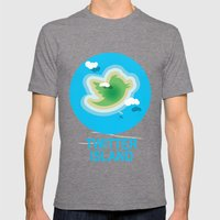 Twitter Island Mens Fitted Tee Tri-Grey SMALL