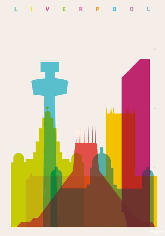Shapes of Liverpool. Accurate to scale. Art Print