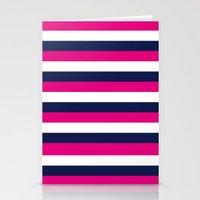 Stripes - Navy, White, Pink Stationery Cards