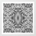 Elegant Black White Floral Lace Damask Pattern Art Print
