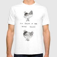 Jealous Chicken (2) Mens Fitted Tee White SMALL