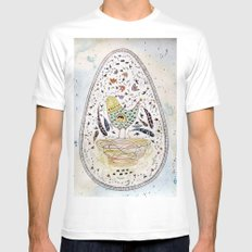 Egg SMALL White Mens Fitted Tee