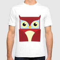 The Red Owl. Mens Fitted Tee White SMALL