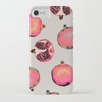 pattern iPhone & iPod Cases featuring Pomegranate Pattern by Georgiana Paraschiv