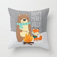 Happy Merry Jolly Throw Pillow
