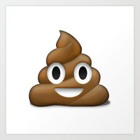 Smiling Poo Emoji (White Background) Art Print