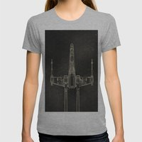 X-Wing Fighter Womens Fitted Tee Athletic Grey SMALL