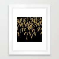 Modern Gold Feathers Rib… Framed Art Print