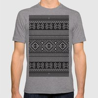 Monochrome Aztec inspired geometric pattern Mens Fitted Tee Athletic Grey SMALL