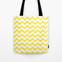 Funky Chevron Yellow Pat… Tote Bag