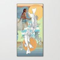Skeleton Surf Canvas Print