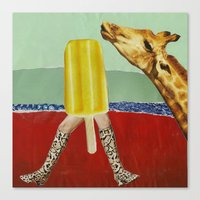 Ferdinand the Giraffe and the yellow popsicle Canvas Print