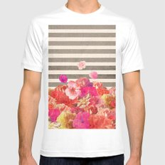 Vintage Floraline White SMALL Mens Fitted Tee