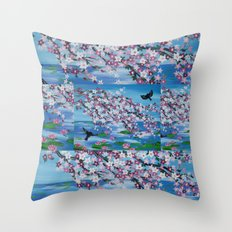 two bird design love romantic cherry blossom turquoise pink white flowers Throw Pillow