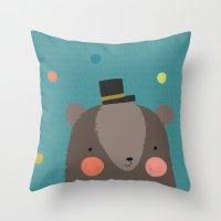 Bear and Bird Buddies Throw Pillow