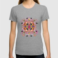 Kaleidoscope Flamingos Womens Fitted Tee Tri-Grey SMALL