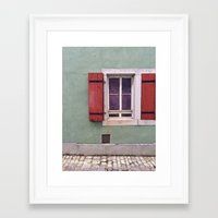 Red Shutters  Framed Art Print