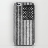 American flag - retro style in grayscale iPhone & iPod Skin