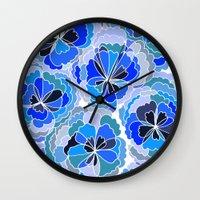 Floral Blue Wall Clock