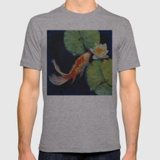 Koi and White Lily Mens Fitted Tee Athletic Grey SMALL