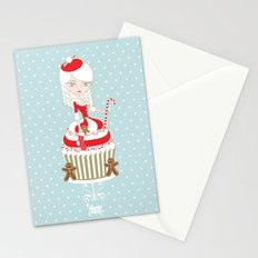 Merry Lady Christmas Cupcake Stationery Cards