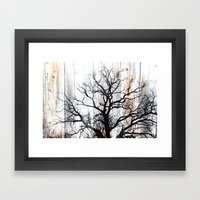 Tree Silhouette on Wood Framed Art Print