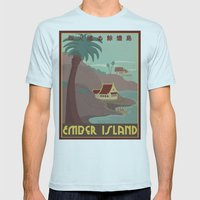 Ember Island Travel Poster Mens Fitted Tee Light Blue SMALL