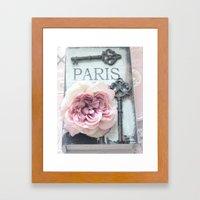 Paris Roses Skeleton Key Art  Framed Art Print