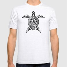Black Abstract Turtle Mens Fitted Tee Ash Grey SMALL