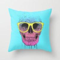 Pop Art Skull With Glass… Throw Pillow