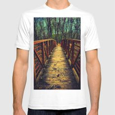 Cross the Bridge. SMALL White Mens Fitted Tee