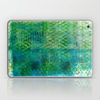 Green Triangles On Blue Laptop & iPad Skin