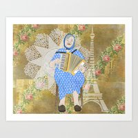 Woman Playing the Accordion Art Print