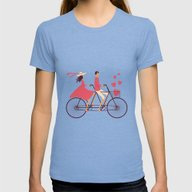 Love Couple Womens Fitted Tee Tri-Blue SMALL