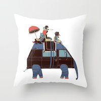 Going By Elephant Throw Pillow