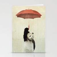 orange Stationery Cards featuring Pandachute by Vin Zzep