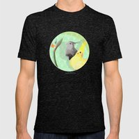 Two Cockatiels Mens Fitted Tee Tri-Black SMALL