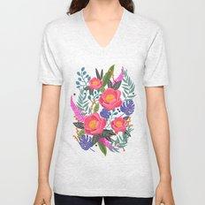 Romantic Blossom, flower print, floral print Unisex V-Neck