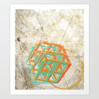 Geometric Grunge One Art Print