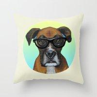 Hipster Boxer dog Throw Pillow