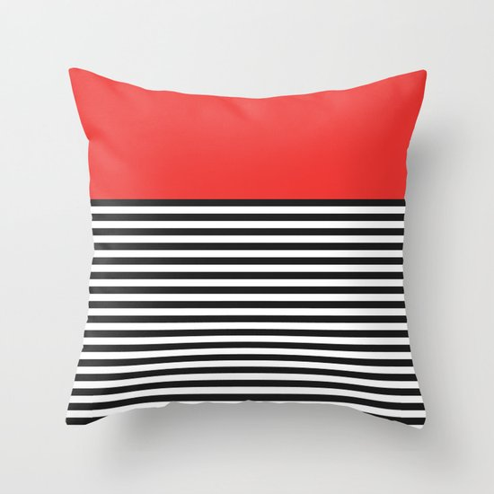 STRIPE COLORBLOCK {POPPY RED} Throw Pillow