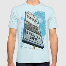 Greater Love Mens Fitted Tee Light Blue SMALL