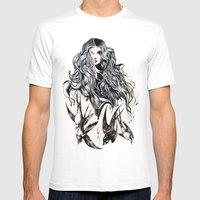 Woman & Birds  Mens Fitted Tee White SMALL