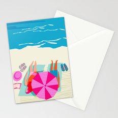 Toasty - memphis throwback minimal retro neon beach surfing suntan waves ocean socal pop art Stationery Cards